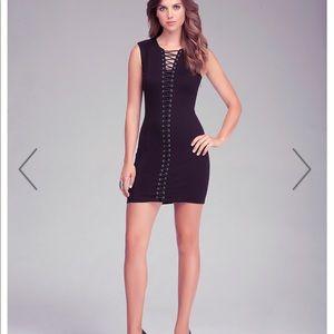 Bebe Lace Up Detail Mini Black Dress